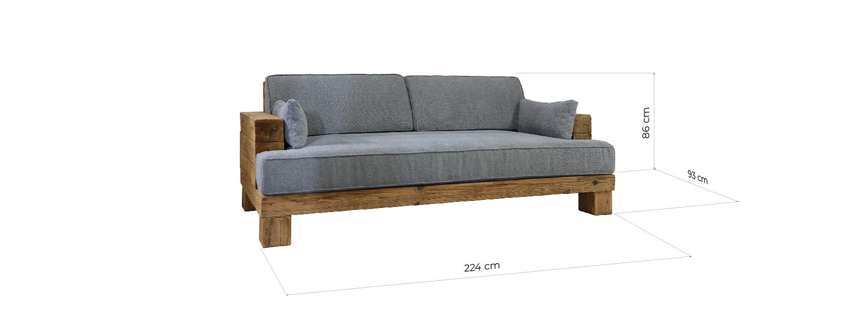 Rustikale 3er Sitz Sofa Pacific, Holz, Leinen - Bemondi.de